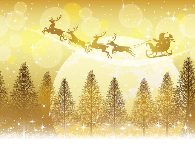 Sans soudure fond de Noël avec le père Noël et les rennes qui volent à travers la lune.