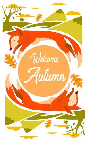 Illustration Fox pour la saison d'automne avec leafs et montagne