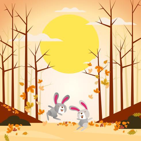 Ilustración de dos conejos lindos y divertidos jugando en otoño otoño