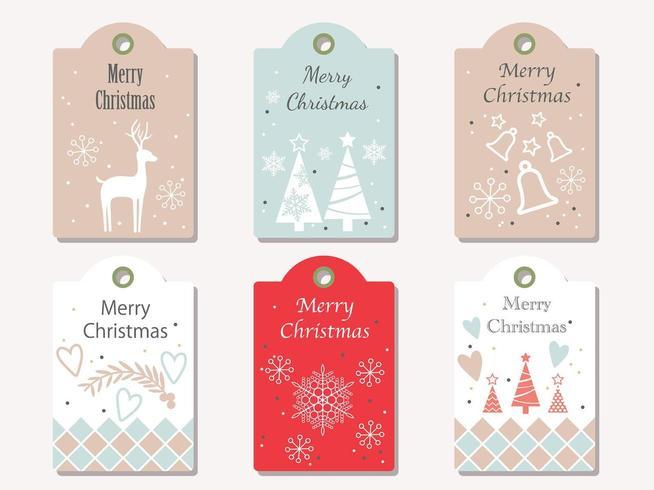 Ensemble d'étiquettes à cadeaux de Noël vecteur isolé sur un fond Uni.