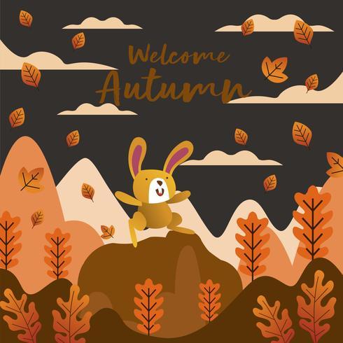 Conejo jugando feliz con hojas y fondo de montaña para la temporada de otoño vector