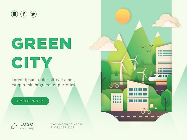 Diseño de página de aterrizaje de eco city vector