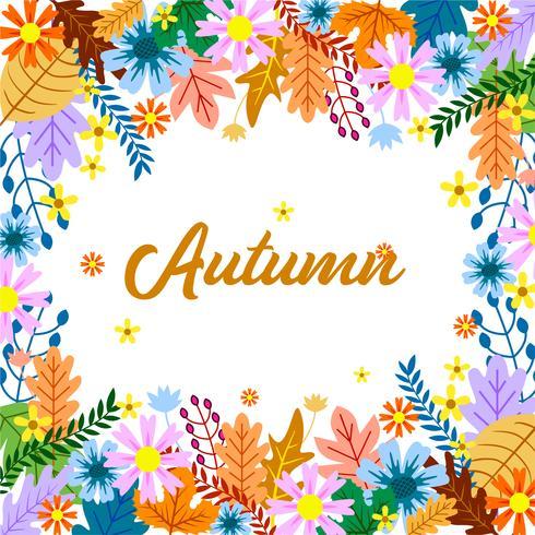 Autumn floral frame design with colorfull leaf