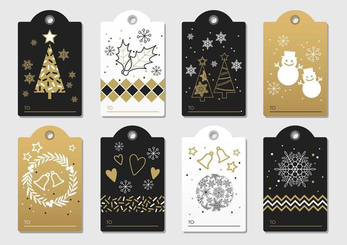 Set di tag di regalo di Natale e Capodanno vettoriale.