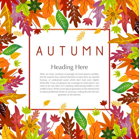 Autumn floral frame with colorful leaf