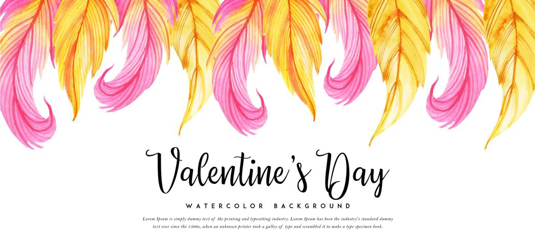 Watercolor Leaves Valentine Banner