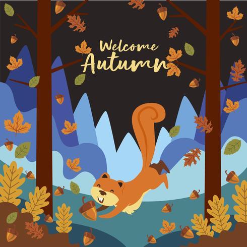 Ardilla de dibujos animados jugando en el bosque en otoño vector