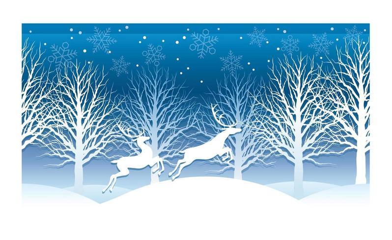 Illustration vectorielle de Noël avec la forêt de l'hiver et le renne.