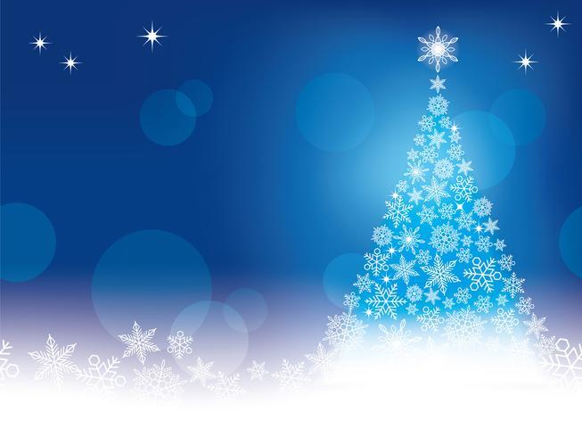 Priorità bassa astratta senza giunte di inverno con un albero di Natale e fiocchi di neve.