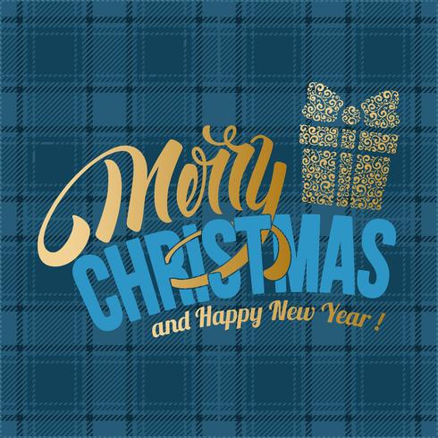 Merry Christmas blue plaid greeting