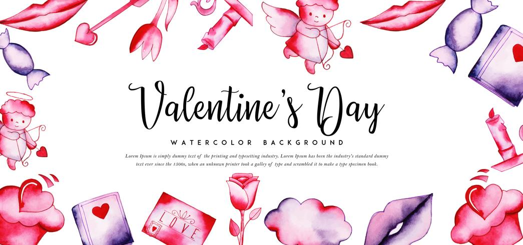 Watercolor Cupid Valentine Banner