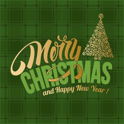 Feliz Natal cartão xadrez verde
