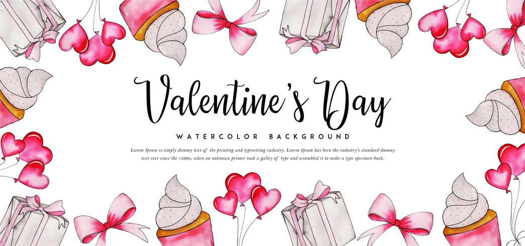 Watercolor Cupcake Valentine Banner