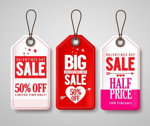Set of Valentines Big Sale Promotional Tags