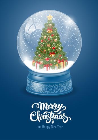 Globo di neve con auguri di albero di Natale