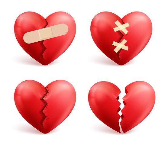 Conjunto de corações partidos em fundo branco
