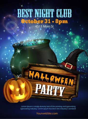 Panfleto de festa de boate de Halloween com abóboras
