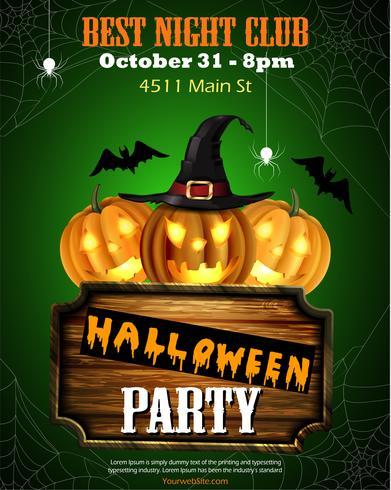 Dépliant fête Halloween avec citrouilles et panneau en bois