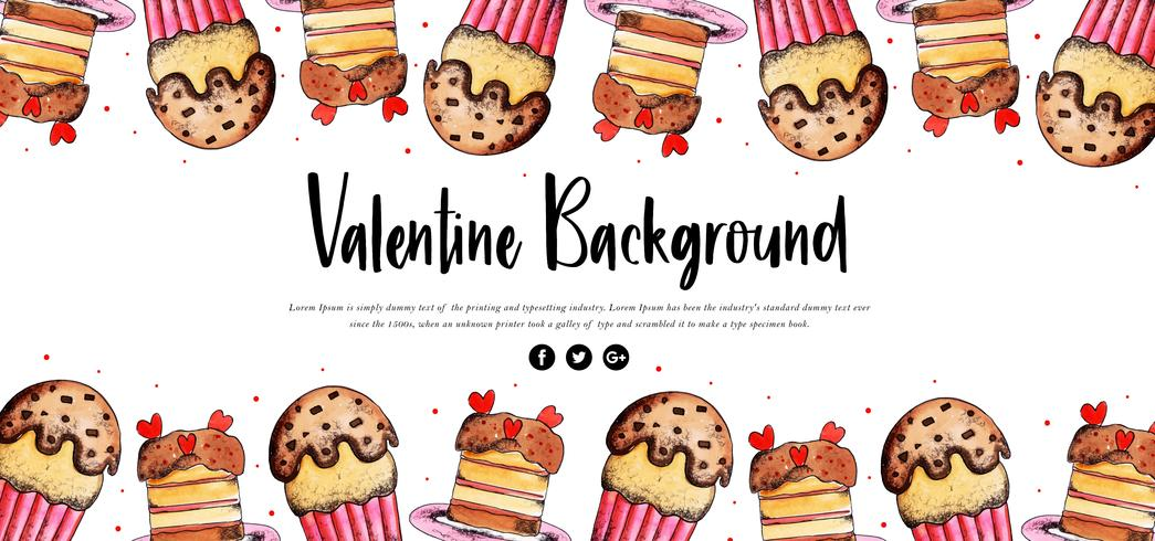 Cupcake Watercolor Valentine Banner