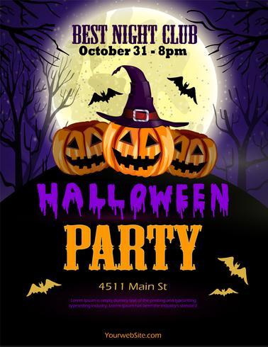 Panfleto de festa de Halloween com três abóboras