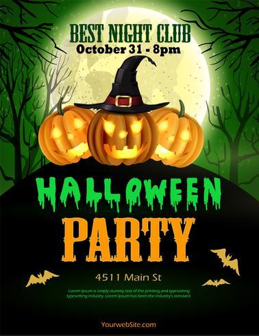 Aletta di filatoio del partito di Halloween con un verde di tre zucche