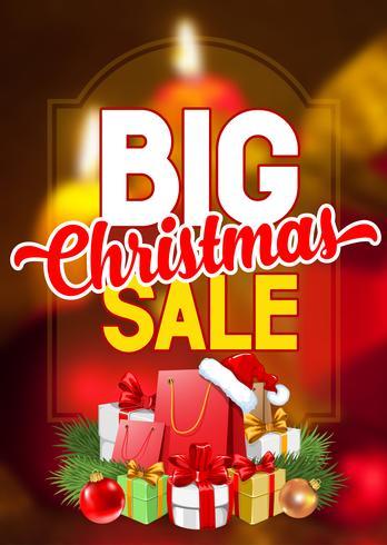 Étiquette publicitaire pour la grande vente de Noël