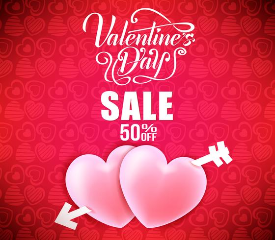 Valentines Sale Banner With Hearts