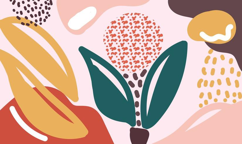 Modern organic shapes floral vector background