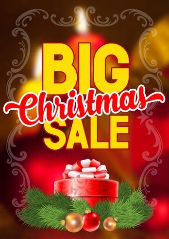 Cartel promocional vertical de gran venta de Navidad
