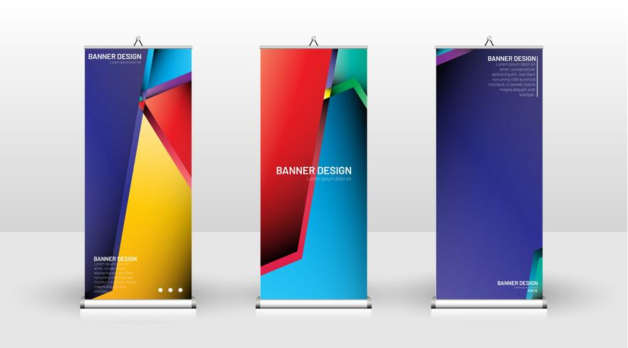 Vertical banner color template  vector