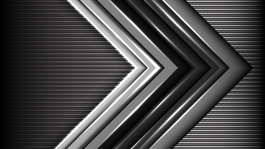 Abstract gray arrow with black background