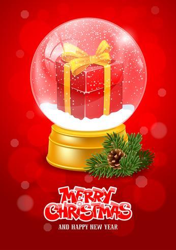 Buon Natale con Snow Globe Saluto verticale