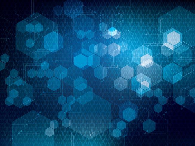 Resumen patrón de tecnología hexagonal brillante