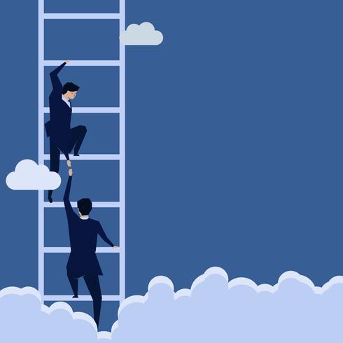 El hombre de negocios que echa una mano ayuda al otro a subir la escalera. vector