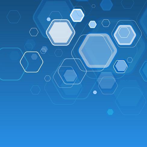 Abstrato azul hexágonos flutuantes
