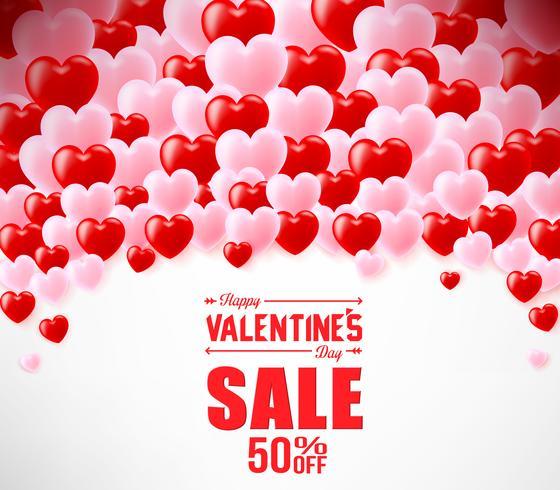 Banner de venda dia dos namorados com corações de balão