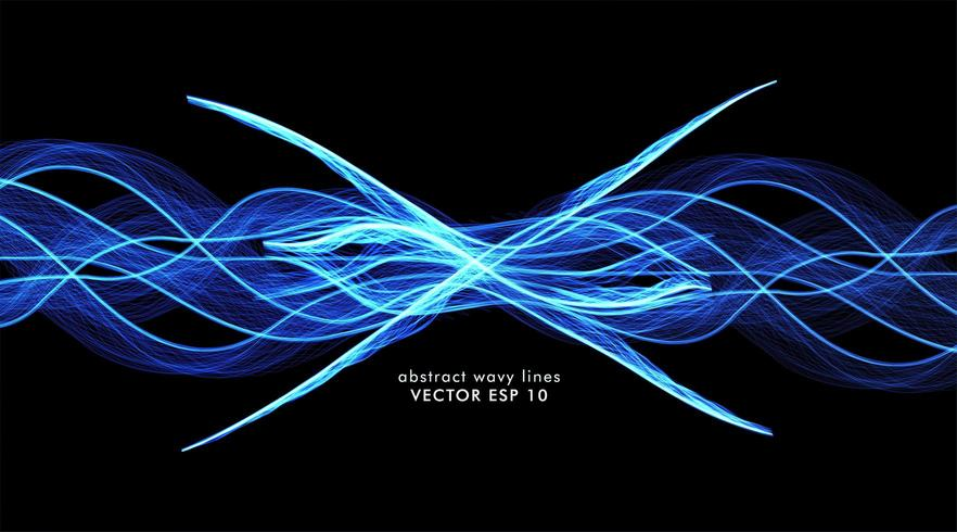 Abstract vector of blue wave lines