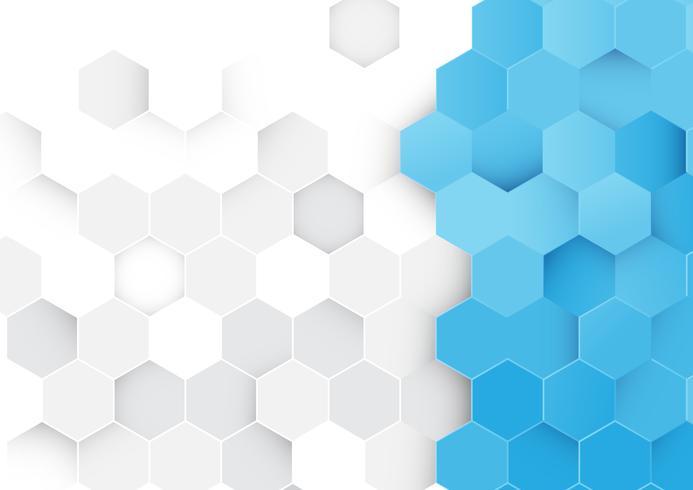 Abstrakt mönster för blå och vita hexagoner
