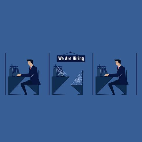Homem de negócios trabalhar no escritório, mas vazio no meio