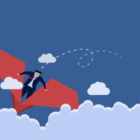 Uomo d'affari che guida sull'aereo di carta nel cielo
