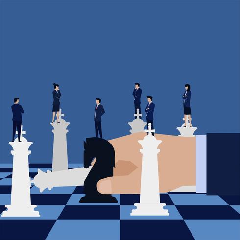 Mão de negócio segurando o cavalo preto e reis desafiadores
