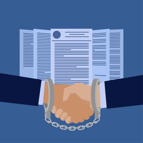 Handshake attached by handcuffs in front of contract papers