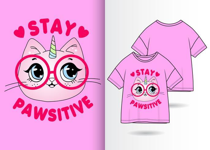 Diseño de la camiseta Stay Pawsitive Kitty vector
