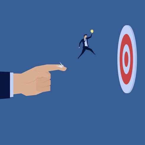 Empresario saltando de mano al objetivo vector