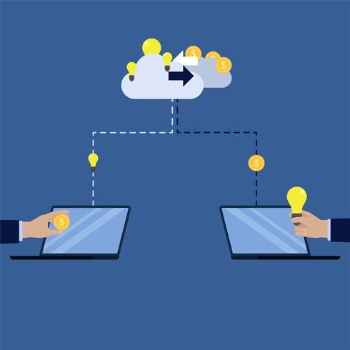 Hand, die Geld zur Wolke sendet und Idee vom Wolkenaustausch kauft