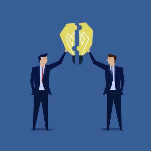 Due uomini d'affari uniscono il puzzle idea lampadina vettore
