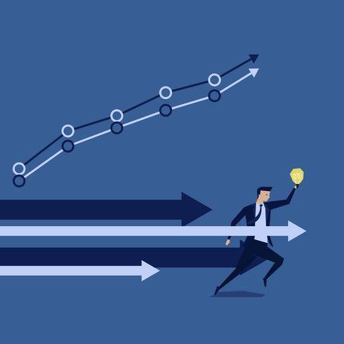 Hombre de negocios que se ejecuta sosteniendo idea con la flecha que dirige progreso vector