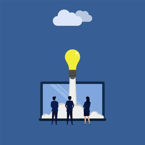 Três homens e mulheres de negócios veem a ideia ser lançada do laptop na nuvem na Internet