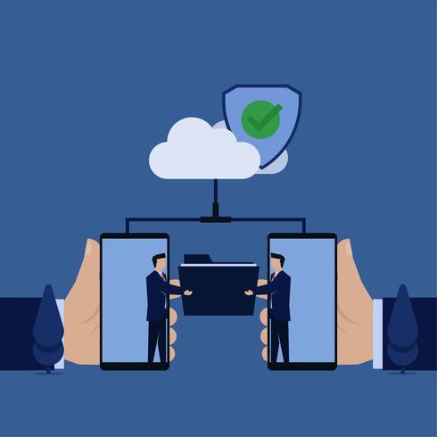 Hombres de negocios que intercambian carpetas desde el teléfono a través de la nube de forma segura vector