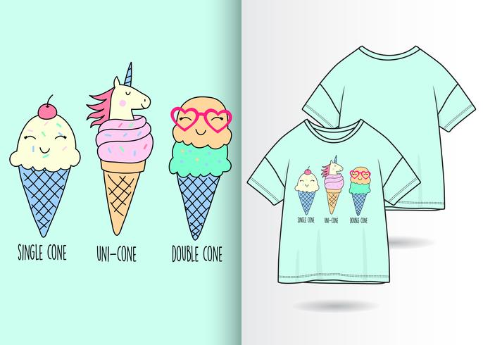 Handritad gullig glass med t-shirtdesign vektor